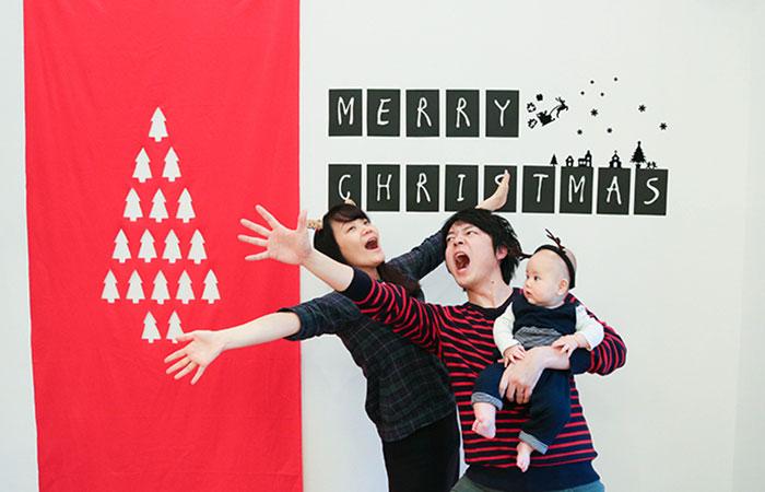 フォトスポットをクリスマスバージョンに装飾 「メリークリスマス!」